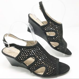 Adrienne Vitadini Open Wedges Black size 9.5